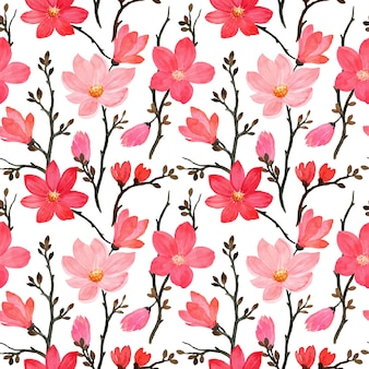 Seamless pattern with magnolia flower watercolor