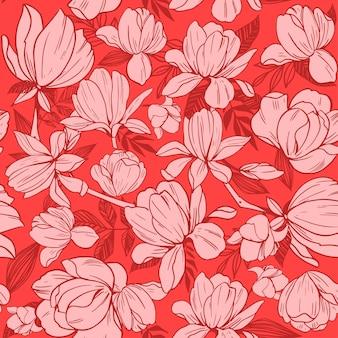 モクレンの花とのシームレスなパターン。