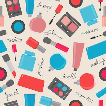Seamless pattern with makeup and cosmetic items