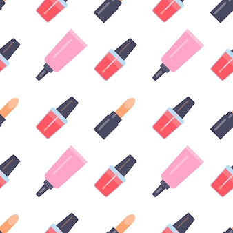Seamless pattern with makeup items in flat style. vector illustration.