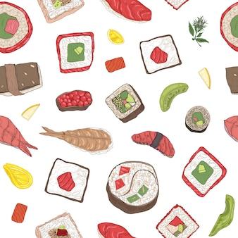 巻き寿司と握り寿司、刺身、ロールパン、具材のシームレスなパターン