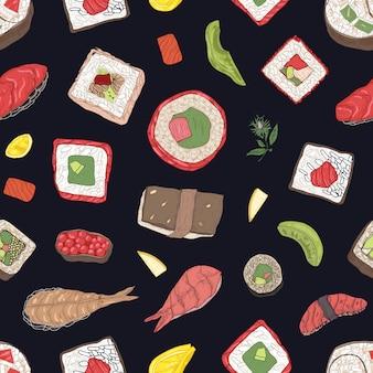 Seamless pattern with maki and nigiri sushi, sashimi, rolls on black background