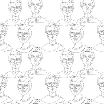 Seamless pattern with man in eyeglasses portrait one line art