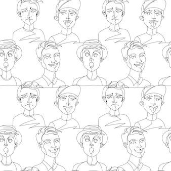 Seamless pattern with man portrait one line art