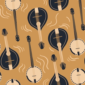 Seamless pattern with mandolin or domra international music day vector musical instrument set