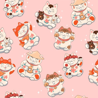 Seamless pattern with maneki neko.  graphics.