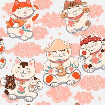 Seamless pattern with maneki neko.