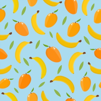 Бесшовный фон с манго и бананом.