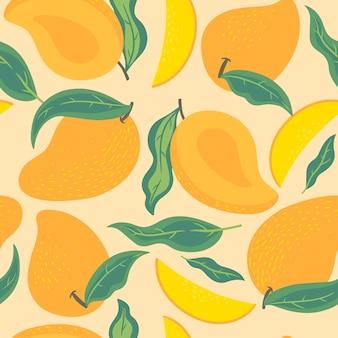 Бесшовный фон с манго и листьями. векторная графика.