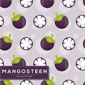 Бесшовный фон с плодами мангустана