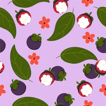 Seamless pattern with mangosteen on a purple background.