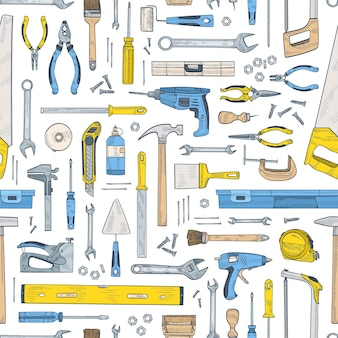 Seamless pattern with manual and powered tools for handcraft and woodworking