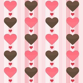 Бесшовный фон с множеством коричневых и красных сердец на розовом. векторная иллюстрация
