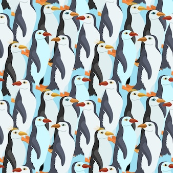 Seamless pattern with a many emperor penguin