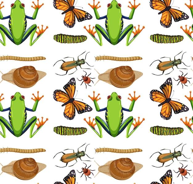 흰색 바탕에 많은 곤충과 원활한 패턴