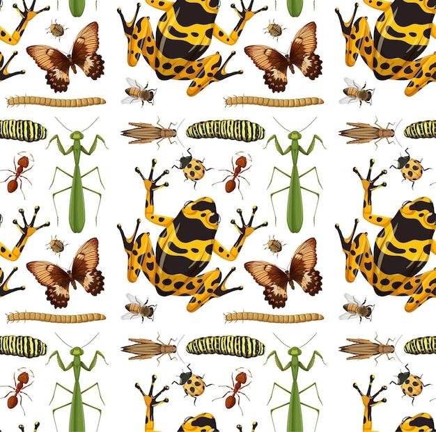 Бесшовный фон с множеством насекомых на белом фоне