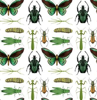 白い背景の上の多くの昆虫とのシームレスなパターン