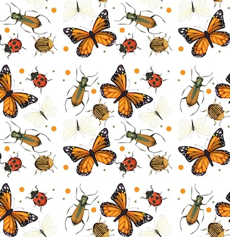 Seamless pattern with many insects on white background
