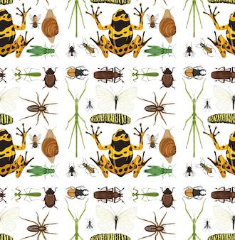 Modello senza cuciture con molti insetti su sfondo bianco