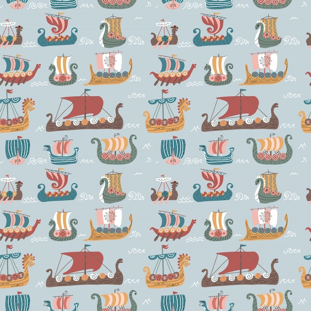 Seamless pattern with many viking drakkars. trendy scandinavian sea sailboat ships.