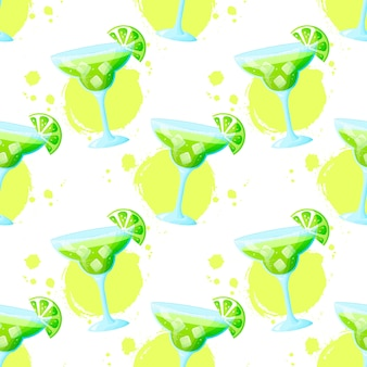 Seamless pattern with margarita cocktail