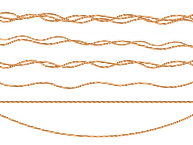 Безшовная картина с морскими узлами веревочки в различных направлениях. узел канатов