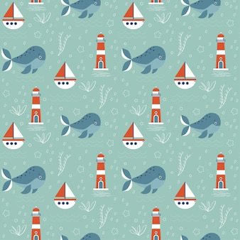 Seamless pattern with marine theme