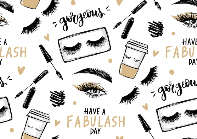 Seamless pattern with mascara, eyeshadow, eyes, brows and long black lashes, paper coffee cup and brush stroke