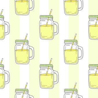 Бесшовный фон с банкой каменщика желтый летний лимонад