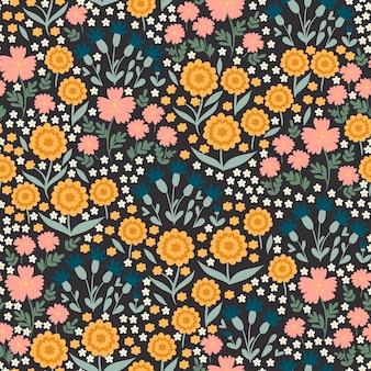 牧草地の花とのシームレスなパターン。