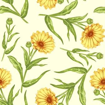 薬用植物とのシームレスなパターン