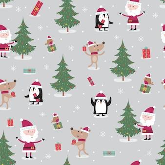 Seamless pattern with meeting between cute santa claus