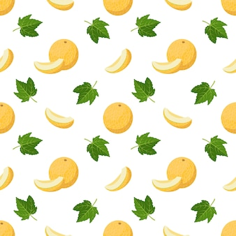 Seamless pattern with melons curls and leaves cute summer print
