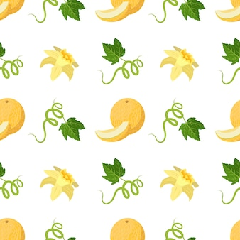 Seamless pattern with melons flowers curls and leaves cute summer print