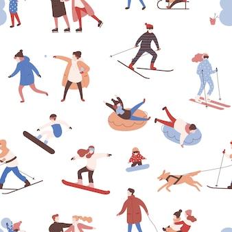 冬のアクティビティを実行する男性、女性、子供とのシームレスなパターン。