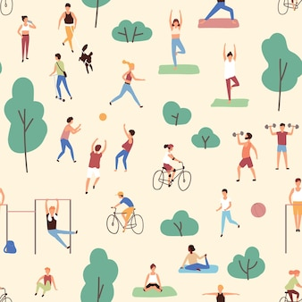 Seamless pattern with men and women performing physical or sports activities in park