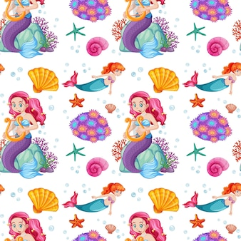 Seamless pattern with mermaid and undersea elements
