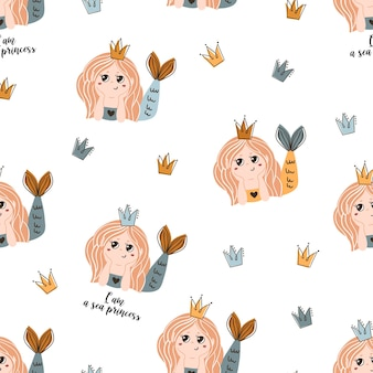 Seamless pattern with mermaids and crowns.
