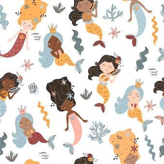 Seamless pattern with mermaids