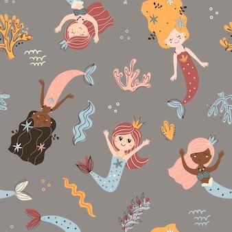 Seamless pattern with mermaids.