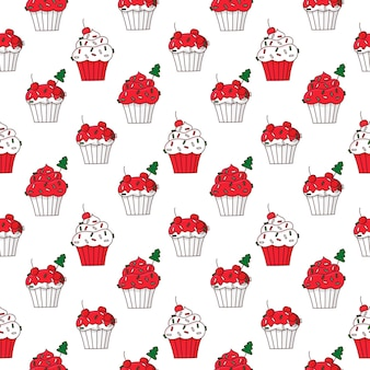 Seamless pattern with merry christmas cupcakes