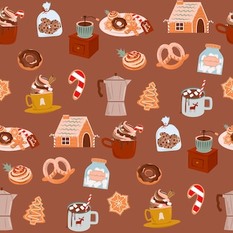 Seamless pattern with merry christmas gingerbread cookies candy and hot drink editable  illustration