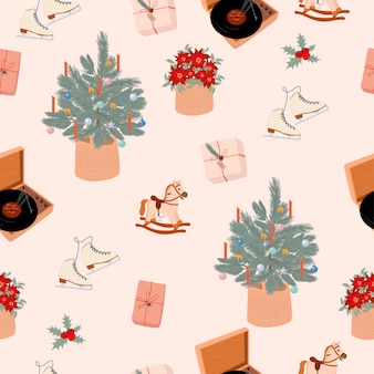 Seamless pattern with merry christmas or happy new year cute elements in scandinavian style editable  illustration