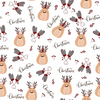 Seamless pattern with merry christmas icon.