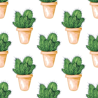 Seamless pattern with mexican edible cactus or cacti
