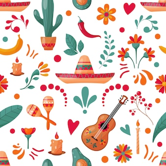 メキシコの要素と花飾りのシームレスパターン