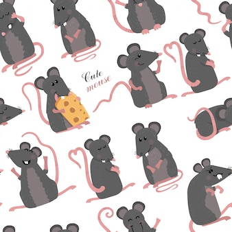 Seamless pattern with  mice