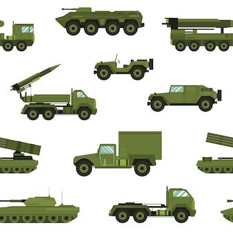 白い背景の上の軍事輸送とのシームレスなパターン