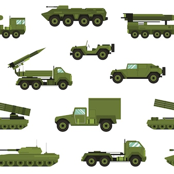 Seamless pattern with military transport on white background