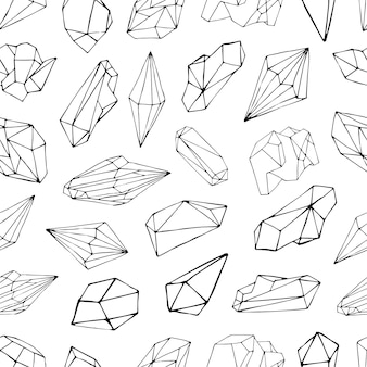 Seamless pattern with minerals, crystals, gems. hand drawn contour  background.